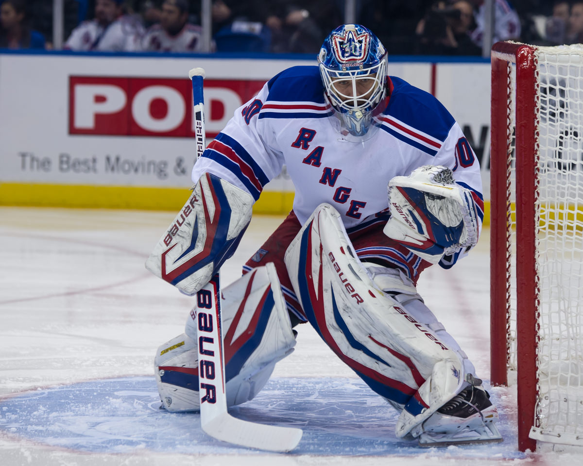 UNIONDALE, NY: Henrik Lundqvist, 30, of the NY Rangers defends the net against the NY Islanders.