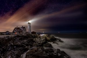 The Portland Head Light at night. Click to enlarge.
